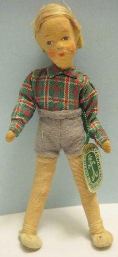 Old German Ermey Biege Liliput Puppchen Flexible Dollhouse Boy Doll w/ Label #ErmeyBiege