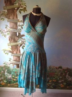 Dressbarn Women's Blue Halter Chiffon Dress SZ 8 #dressbarn #AsymmetricalHem #Cocktail