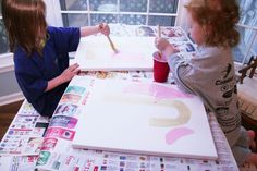 homemade ginger: TUTORIAL: Kid-Created Canvas Letter Art