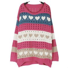 knitted sweater with hearts
