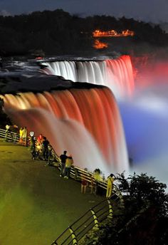 # Niagara Falls # Waterfall in North America. # Niagara Falls is the collective name for three waterfalls. Wonderful Places, Beautiful Places, Beautiful Pictures, Amazing Places, Beautiful Waterfalls, Beautiful Landscapes, Niagara Waterfall, Niagara Falls At Night, Nature Pictures