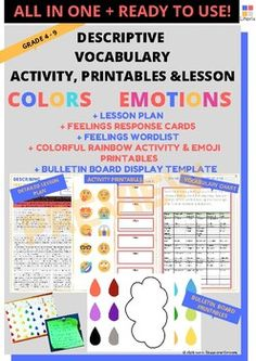 Use this amazing lesson and activity from my classroom to yours! My students loved it. Hope yours will too! Vocabulary Building, Vocabulary Activities, Classroom Activities, Primary Resources, Teacher Resources, Teaching Ideas, Colors And Emotions, Feelings And Emotions, Elementary Teacher