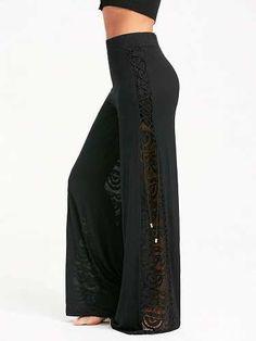 Prezzi e Sconti: #Lace criss cross panel palazzo pants  ad Euro 15.04 in #Women #Moda