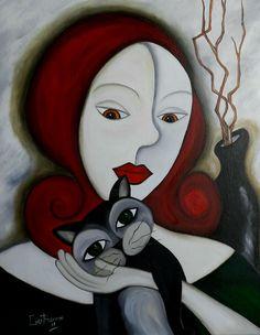 Chica con su gato. (Peinture) par Céu Barros