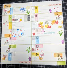 "My July planner page from a 12""x12"" sheet of Daisy White card stock Love how FUNN the colors are. #planner #stamping #colorful"