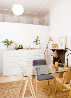 The homeopath's office is a delightful combination of the contemporary and the natural. The trestle desk from LIM and oak chair from Stable stand on a jute rug from Weylandts.