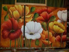 Acrylic Flowers, Acrylic Art, Acrylic Painting Canvas, 5 Piece Canvas Art, Plaster Art, Acrylic Painting Techniques, Colorful Drawings, Stone Painting, Oeuvre D'art