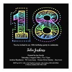 Cool On Black 18th Birthday Party Invitation