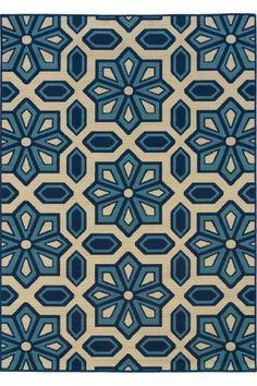 Navy guest room  Tazi Indoor/Outdoor Area Rug - blue, navy & ecru geometric deisgn