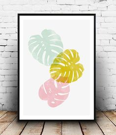 Monstera leaf print, Watercolor art, Nordic design, Home decor, pink yellow, wall print, Living room art, minimalist print, scandinavian art