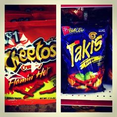 Hot Cheetos & Takis get us through the day.  Spicy!