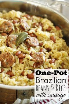 Brazilian Beans & Rice with Sausage. Only one pot, a few simple ingredients, and 25-minutes and you have this delicious meal on the table! Couldn't be easier!