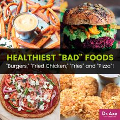 """28 Healthiest """"Bad"""" Foods: """"Burgers,"""" """"Fried Chicken,"""" """"Fries"""" and """"Pizza""""!:It often feels like the foods we crave are the most unhealthy foods: after a rough day at the office or a harrowing time with toddlers, most of us don. Healthy Dog Treats, Healthy Snacks, Healthy Eating, Healthy Fats, Keto Recipes, Cooking Recipes, Healthy Recipes, Flour Recipes, Burger Recipes"""