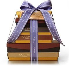 $175.00  The Chocolate Decadence Thank You Gift Tower includes a generous array of Godiva chocolate treats. A gift basket that is ideal for those new to Godiva or a well versed chocolate lover.