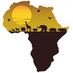 Africa Map sunset over view. The artistry that can only be done with the shape of the continent of Africa. The possibilities are endless. African Animals, African Safari, Afrika Tattoos, Tattoo Mama, Afrique Art, African Art Paintings, African Market, Arte Tribal, African American Art