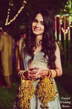 Wedding Kaleere - Gold Wedding Kaleere with a Steel Grey Lehenga | WedMeGood  #wedmegood #indianbride #indianwedding #bridal #goldkaleere #lehenga #steelgrey