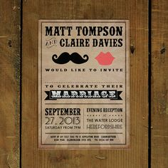 Moustache And Lips Wedding Invitation from notonthehighstreet.com