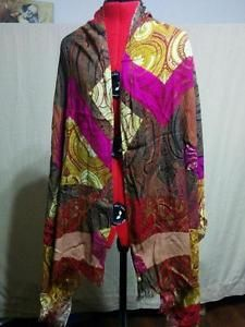 """Anne Klein Color Block Paisley Shawl Wrap Scarf 100% Rayon 76"" by 26.5"" """