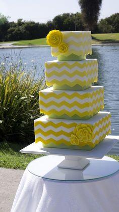 Lemon and green #chevron wedding cake
