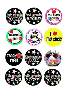 Back to School Bottle Cap Images For Bows, Bottle Caps, Bottlecaps Diy Bottle Cap Crafts, Bottle Cap Art, Bottle Top, Bottle Cap Images, Printable Stickers, Planner Stickers, Glass Bead Crafts, School Hair Bows, Edible Printing