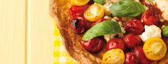 Gluten free cherry tomato, ricotta and basil pizza [recipe] Pizza Recipes, Cherry Tomatoes, Ricotta, Vegetable Pizza, Vegan Vegetarian, Tacos, Gluten Free, Lunch Ideas, Sin Gluten