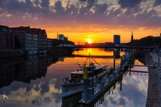 Bremen at the river Weser #sunset #water #landscape #photography