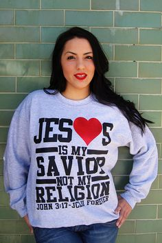 FLASH SALE $14.99 NOW!  HEATHER-JESUS IS MY SAVIOR NOT MY RELIGION by JCLU Forever Christian t-shirts