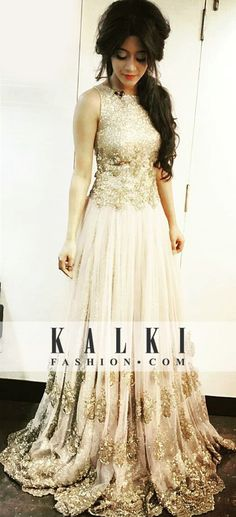 Shivangi Joshi looking gorgeous in Kalki Gown Indian Gowns, Indian Attire, Pakistani Dresses, Indian Outfits, Party Wear Dresses, Homecoming Dresses, Bridal Dresses, Wedding Gowns, Indian Wedding Wear