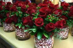 Christmas centerpieces by Lasater Flowers