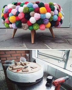 Manualidades con pompones Diy And Crafts, Crafts For Kids, Barn Wood Crafts, Pom Pom Crafts, Craft Tutorials, Creative Inspiration, Diy Room Decor, Upcycle, Creations