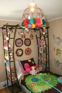love the arbor used as a headboard/shelf combination
