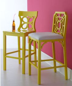 Lilly Pulitzer Barstools. This looks like a project for DIY maven ;)