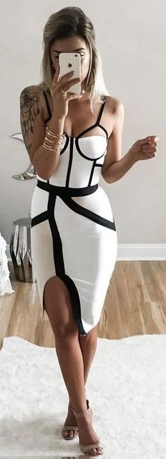 Geometric Bustier Split Bodycon Dress                                                                             Source