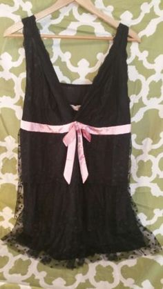 Cacique  women's plus size 22/24 ruffle heart sexy teddy black pink Lane Bryant