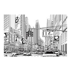 Rebel Walls Monochrome Cartoon City Wall Panel ($385) ❤ liked on Polyvore featuring home, home decor, wall art, backgrounds, fillers, drawings, pictures, art, text and phrase