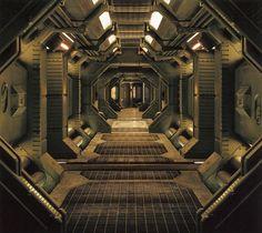 Ship, interior corridor