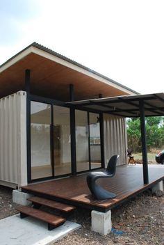 A container home from BlueBrown... The roof is situated above the living areas to prevent heat transmission and let the living areas be cooler.