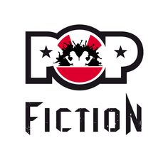 niekfabriek logo design for cover band Pop-fiction. Live music that rocks the house from pop to rock and back!