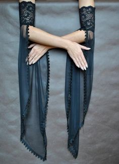 Elegant GOTHIC VAMPIRE costume Victorian Evening gloves Glamour long GLOVES with mistic floune, frill, black tulle, fingerless mittens - Dark Couture - Kurti Sleeves Design, Sleeves Designs For Dresses, Indian Fashion Dresses, Fashion Outfits, Rave Outfits, Gothic Vampire Costume, Vampire Costumes, Mode Kimono, Mode Hippie