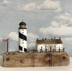 Harbour Point #driftwood #driftwoodart #lighthouse #harbour #nautical #seaside #rustic #rusticart #handmade #littlecottage #lighthouse #sea #seagulls #shabbychic #shabbydaisies
