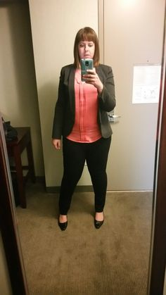 SF Stylist: This is me (Jen) in NYDJ leggings in size 14, limited L tall top, blazer I got at Nordstrom in L which I can't remember size. Aerosoles size 11 but again a little big