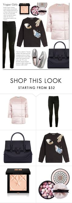 """""""Vogue Girls Street Style"""" by laurajanekatriina ❤ liked on Polyvore featuring Topshop, RtA, Versace, Alexander McQueen, Givenchy, Guerlain and Keds"""