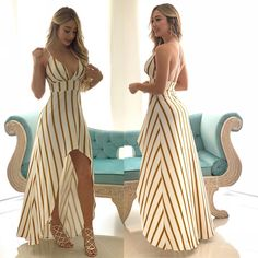 Summer dress – great use of stripes Long Summer Dresses, Simple Dresses, Sexy Dresses, Cute Dresses, Dress Outfits, Fashion Dresses, Classy Outfits, Stylish Outfits, Prom Party Dresses