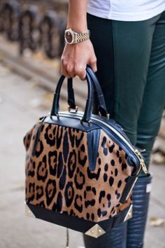 leopard satchel bag