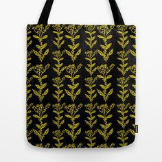 Golden Yellow Floral Vines on Black {Hand-drawn flowers} Tote Bag by Bohemian Bear by Kristi Duggins - $22.00