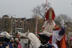 The arrival of Sinterklaas is a big thing for Dutch youngsters, as the old saint makes his way through the cities by boat and on a white horse.  The entry of Sinterklaas is a big thing in the Netherlands: it is live on TV, and it marks a period of several weeks during which he goes around the country on his white horse with his assistants,Zwarte Pieten, to make kids happy. In the evening, children would sing one of many traditional songs, put carrots in their shoe before going to sleep....