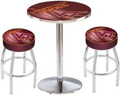 Virginia Tech Hokies D2 Chrome Pub Table Set.  Available in two table widths. Visit SportsFansPlus.com for Details.