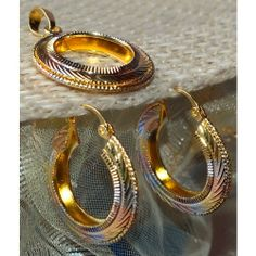 Tricolor - gold, silver & copper plated round shaped pendent set  - Online Shopping for Pendants by Ami Designs