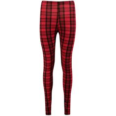 Boohoo Ysabel Tonal Tartan Check Leggings ($10) ❤ liked on Polyvore featuring pants, leggings, red leggings, red tartan pants, elastic waistband pants, rayon pants and flat-front pants