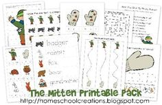 Free early learning printables for the book The Mitten by Jan Brett. Focusing on skills for preschool to kindergarten. Created by Homeschool Creations.